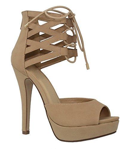 MVE Shoes Women's Open Toe Laces Back Zipper High Heel Pumps-Shoes, naturalnb Size 7
