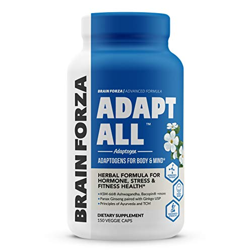 Brain Forza Adapt All Herbal Adaptogen for Stress, Mood and Athletic Performance w/ KSM-66 Ashwagandha, Bacopa, Rhodiola Rosea, Cordyceps, Lemon Balm, Ginkgo Biloba USP, 150 Capsules