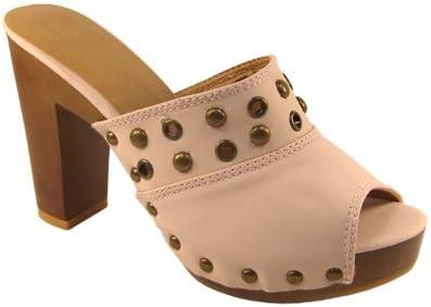 Womens High Wooden Heel Platform Clog