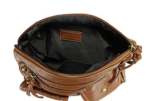 Scarleton Multi Crossbody Zip H1993 Bag Brown Trendy 1S8wqH