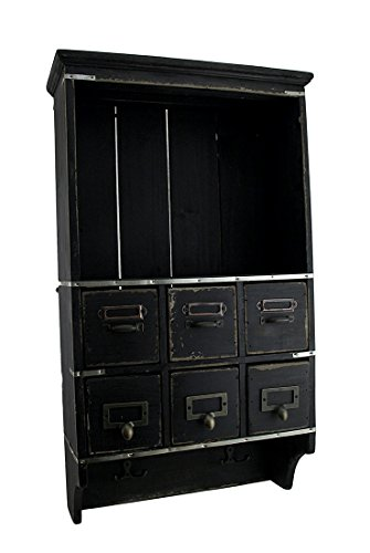 Zeckos Rustic Black Wooden 6 Drawer Wall Storage Shelf from Zeckos