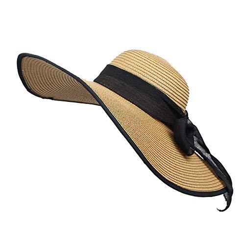 Yucode Wide Large Brim Foldable Straw Cap Summer Beach Women Travel Floppy Sun Hat Khaki
