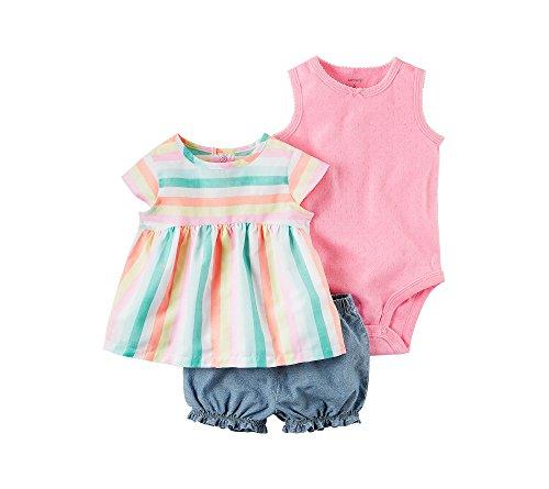 Carter's Baby Girls' 3-Piece Bodysuit And Denim Shorts Set 9 Months