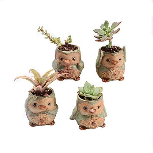 SweetLifeIdea Ceramic Penguin Mini Flower Pot Cactus Succulent Plants Pot Garden Decor Planters 4pcs Set