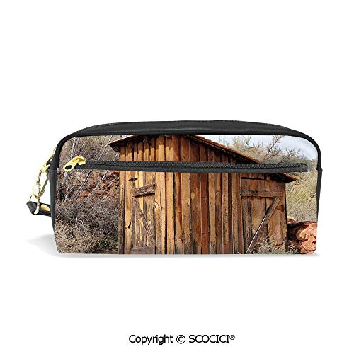 Fasion Pencil Case Big Capacity Pencil Bag Makeup Pen Pouch Old Wooden Shed in The Outback Country Side with Olive Trees Durable Students Stationery Pen Holder for School
