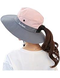 7b6407fd76d Women s Summer Sun UV Protection Hat Foldable Wide Brim Boonie Hats for  Beach Safari Fishing