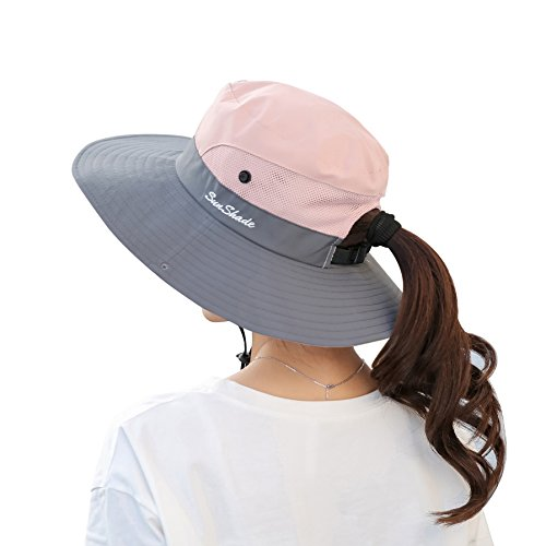 Women's Summer Sun Hat Outdoor Uv Protection Foldable Wide, Pink, Size One Size