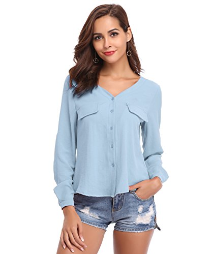 LYHNMW YHNMW Women's Casual Button Down Shirt Loose Roll-up Sleeve Tops Chiffon V-Neck Blouse by LYHNMW (Image #1)