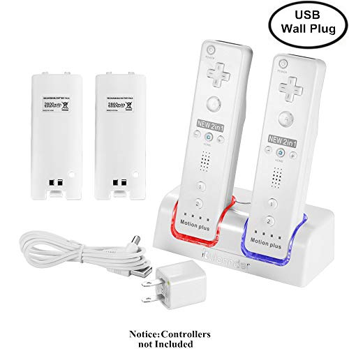 Kulannder Wii remote battery charger(Free USB Wall Charger+lengthened cord) Dual Charging Station Dock with Two Rechargeable capacity Increased Batteries for Wii/Wii U Game Remote Controller (White) (Station Standard Remote Wall)