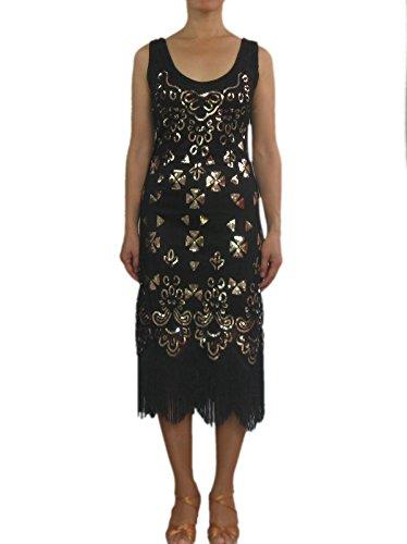 20's Bead Sequin Gatsby Charleston Casual Flapper Honey Fancy Dress Black Attire -