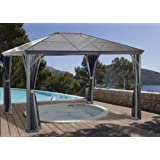 Sojag 10x14 Feet Verona Gazebo - Charcoal Aluminum Structure Sun Shelter With Polycarbonate Roof Including Mosquito Netting