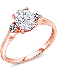 10K Rose Gold Solitaire w/Accent Stones Ring Forever One (GHI) Oval 1.50ct (DEW) Created Moissanite by Charles & Colvard and Diamond (Available 5,6,7,8,9)