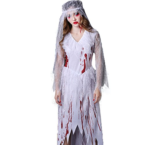 Child Ghost Bride Costume (Adults Cosplay Halloween Costume Terror Zombie Ghost Costumes Bride)