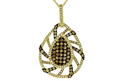 Milano Jewelers 1.0CT White & Chocolate Fancy Diamond 14KT Yellow Gold Tear Drop Cluster Pendant ()