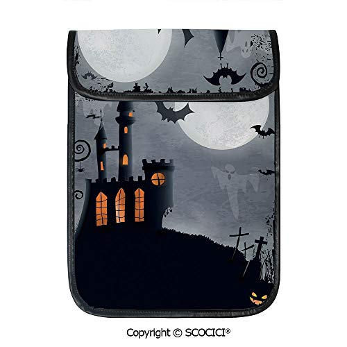 SCOCICI iPad Pro 12.9 Inch Sleeve Tablet Protective Bag Halloween Themed Asymmetric Caste with Scary Bats and Full Moon Custom Tablet Sleeve Bag Case]()