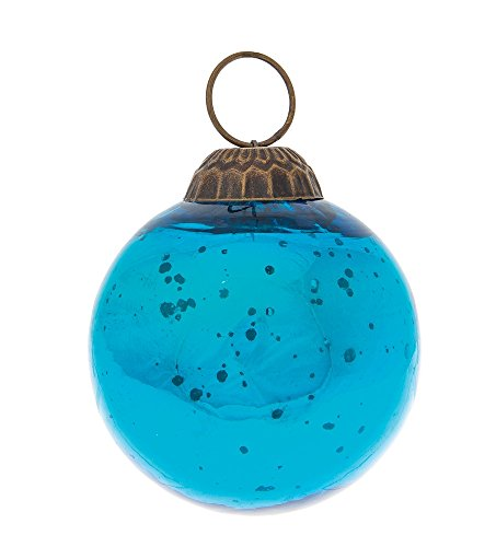 Luna Bazaar Large Mercury Glass Ornament (Ava Ball Design, 2 Inches, Turquoise Blue) - Vintage-Style Decoration ()