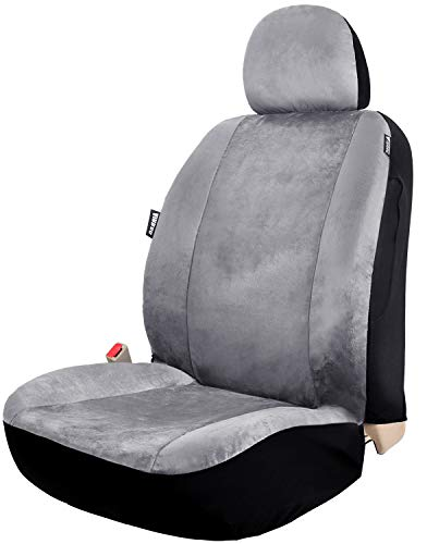 (Leader Accessories Velour Super Soft 1pcs Grey Car Front Seat Cover with Headrest Cover Airbag Compatible)