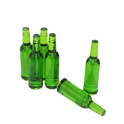 Gbell Mini Wine Bottle Model for 1/12 Scale Miniature Kids Girls Dollhouse Accessories Toy (Green)