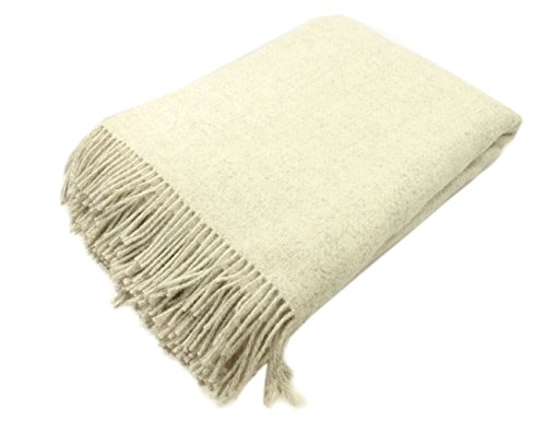"John Hanly & Co. Irish Wool Blanket 100% Natural Lambswool Non-Dyed Throw 71"" Long by 52"" Wide Fringed Soft & Warm Woven Home Décor Made in ()"