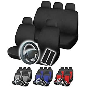 DK Universal 12pcs Full Set Styling Car Cover Auto Interior Accessories Car Seat Cover PGB12 Four Colors Available£¨Delivery color£©(Black)
