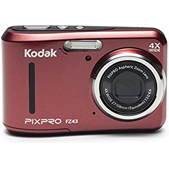 "Kodak PIXPRO Friendly Zoom FZ43 16 MP Digital Camera with 4X Optical Zoom and 2.7"" LCD Screen (Red)"