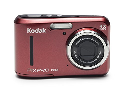 Kodak PIXPRO Friendly Zoom FZ43-RD 16MP Digital Camera with 4X Optical Zoom and 2.7″ LCD Screen (Red)