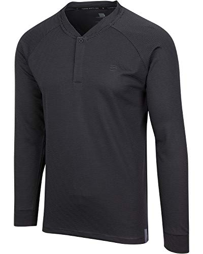 Dry Fit Long Sleeve Collarless Golf Shirts for Men - 4 Way Stretch and Moisture Wicking Golf Polo Charcoal