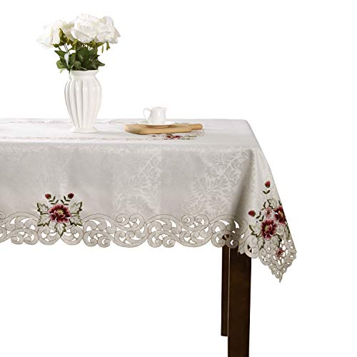 (Elegant pink flower embroidery floral dining kitchen home room cutwork tablecloth party wedding gift for rectangular table )