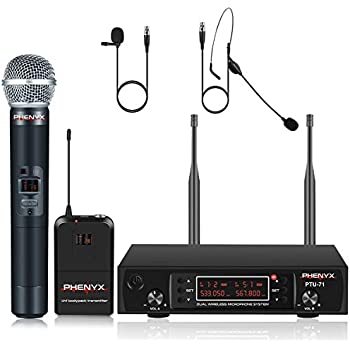 UHF Wireless Microphone System, Phenyx Pro Dual Cordless Mic Set with Handheld/Bodypack/Headset/Lapel, All Metal, 2x200 CHs, Long Coverage 250ft, Ideal for DJ, Church, Events (PTU-71B)