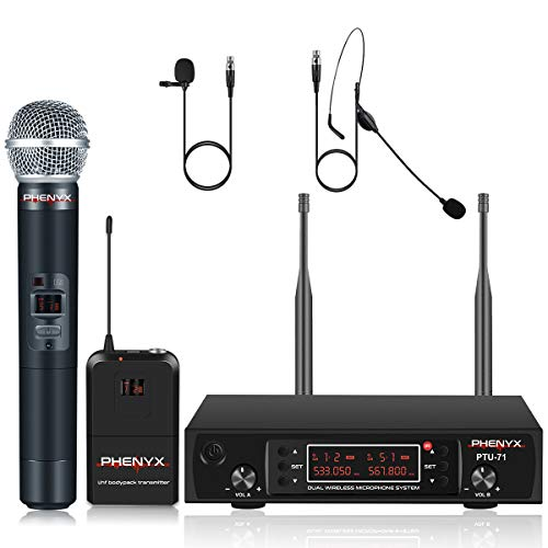 UHF Wireless Microphone System, Phenyx Pro Dual Cordless Mic Set with Handheld/Bodypack/Headset/Lapel Mics, 2x200 Channels, Long Distance Operation, Ideal for DJ, Church, Events (PTU-71B) ()