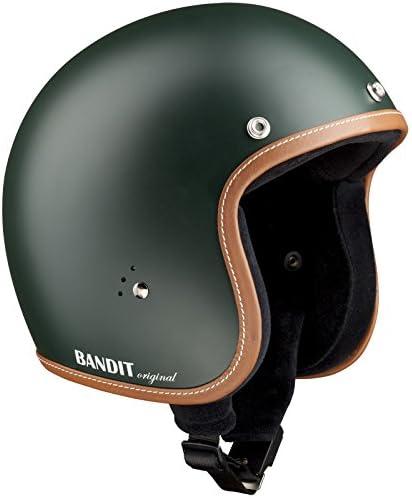 Gr/ö/ße:M 57-58cm Farbe:gruen-matt Bandit Helmets Jethelm premium kleine Bauweise Innenfutter Baumwolle Brillenschlaufe Sonnenschild