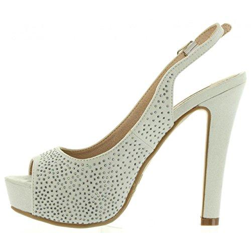 XTI Zapatos de Tacón de Mujer 30561 Antelina Hielo