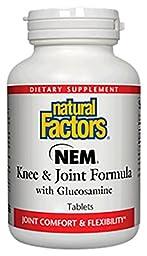 Natural Factors - NEM Knee & Joint Formula with Glucosamine, Promotes Joint Comfort & Mobility, 120 Tablets