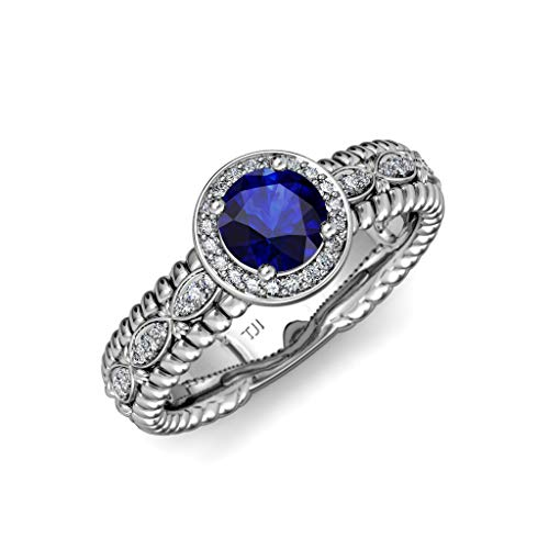 TriJewels Blue Sapphire & Diamond Lavaliere Shank Halo Engagement Ring 1.22 ctw 14K White Gold.size 8.0 ()