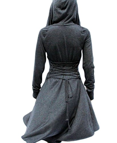Gray Sweatshirt Sleeve Women's Dress Hoodie Domple Deep Irregular Drawstring Long wUZqzqP