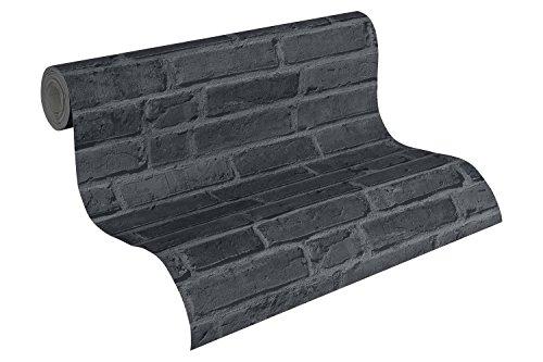 AS-Cration-942833-Cocktail-2-Papel-pintado-diseo-de-ladrillos-color-gris-y-negro