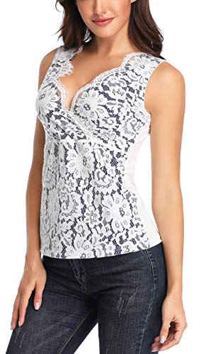 MISS MOLY Women's Floral Lace Shirts Sleeveless Summer V Neck Slim Sexy Crossover Tank Tops Blouse Vest White L