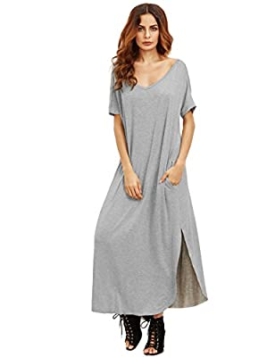 MakeMeChic Women's Casual Loose Pocket Long Dress Short Sleeve Split Maxi Dress