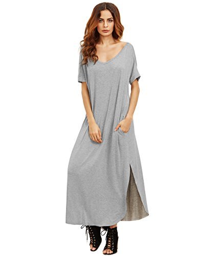 MakeMeChic-Womens-Casual-Loose-Pocket-Long-Dress-Short-Sleeve-Split-Maxi-Dress