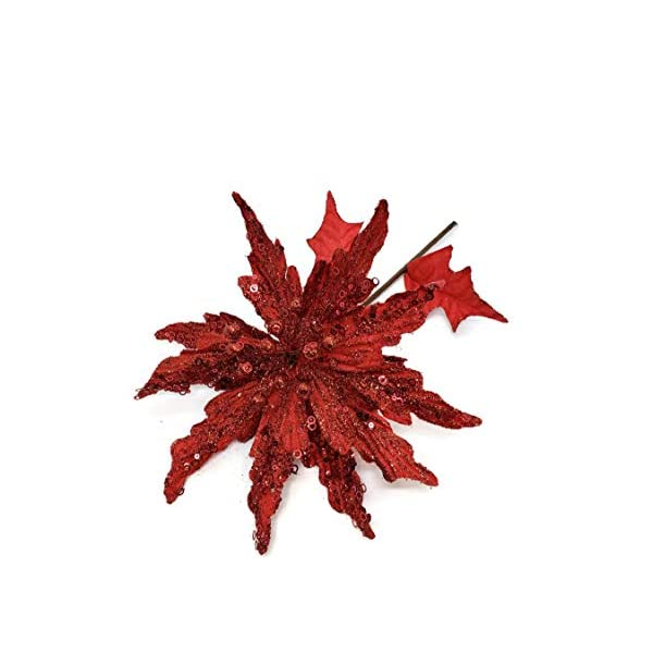 23″ Red Glitter Poinsettia Sequin Poinsettia Spray by Direct Exports Christmas