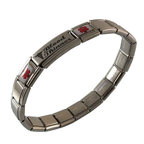 Gadow Jewelry Blood Thinner Medical ID Alert Italian Charm Bracelet
