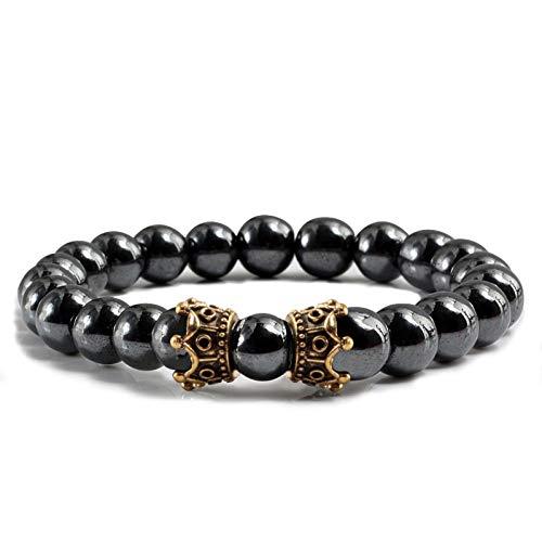 RQQDSZ Hematite Tiger Eye Stone Beads Strand Bracelet White Black Gallstone Turquoises Bracelets Bangles Men Ms Jewelry