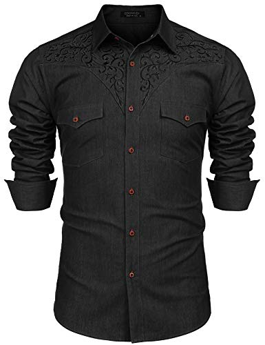 COOFANDY Men's Long Sleeve Floral Embroidered Shirts Western Denim Button Down Shirt