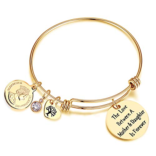 EGOO YAMEE The Love Between Mother and Daughter is Forever Heart Charm Bangle Bracelet Mom Daughter Jewelry(Gold)