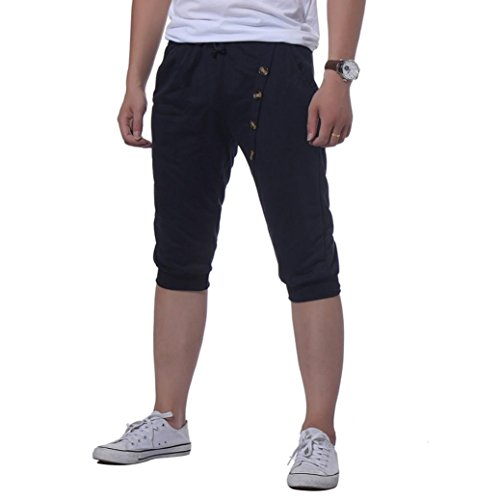 Hot Sale Leedford Men Sport Gym Fitness Jogging Elastic Stretchy Bodybuilding Button Sweatpants (Navy, M) by Leedford Men's Pants
