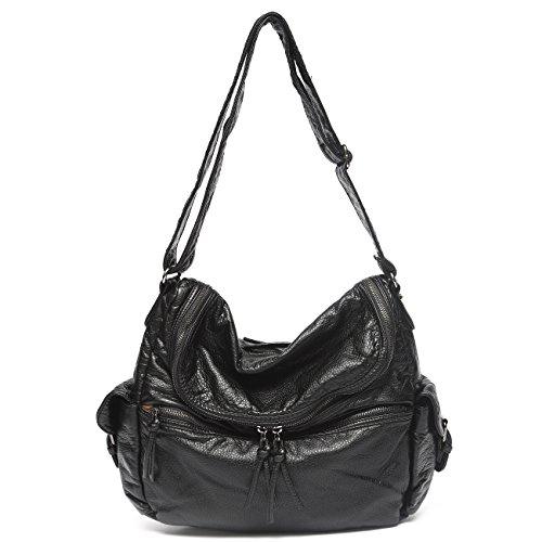 Mlife Women Soft PU leather Shoulder Bag Hobo Handbag (Black) by Mlife
