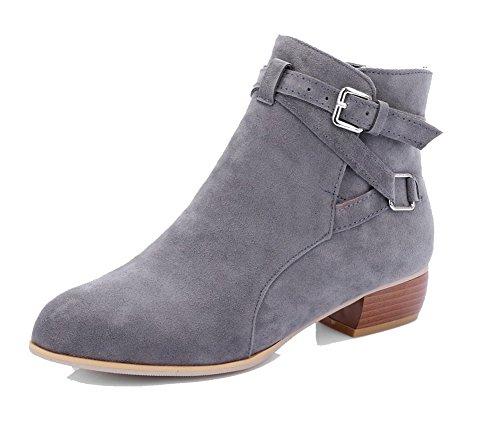AgooLar Women's Low-Heels PU Solid Buckle Round-Toe Boots Gray fJvSC