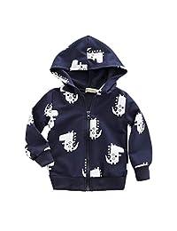 Staron  Baby Hoodie Infant Boy Girls Cartoon Dinosaur Hooded Zipper Tops Clothes Coat