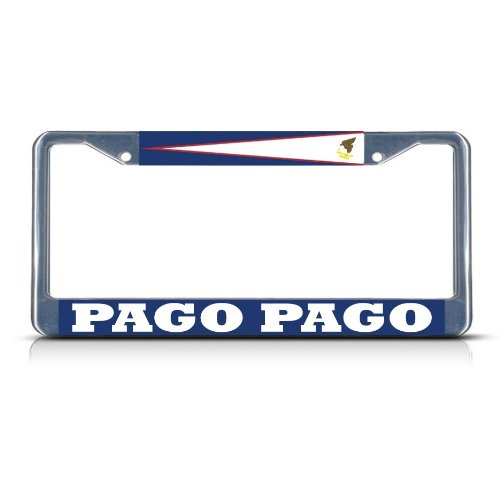 Metal License Plate Frame Solid Insert American Samoa Pago Pago Car Auto Tag Holder - Chrome 2 Holes, One Frame