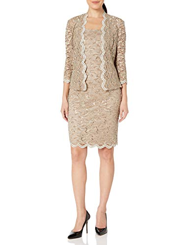 Alex Evenings Women's 12 Tea Length Dress and Jacket (Petite and Regular Sizes), Champagne